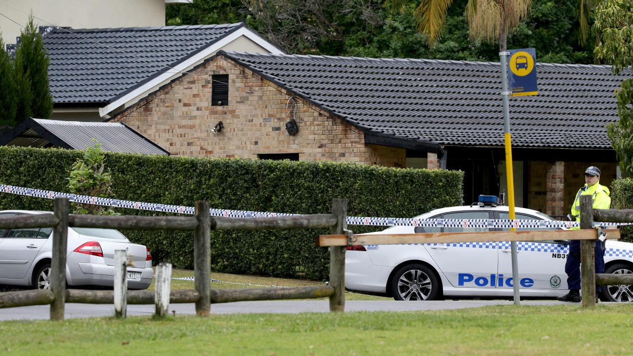Police outside the home after the horrific discovery. Picture: Jonathan Ng