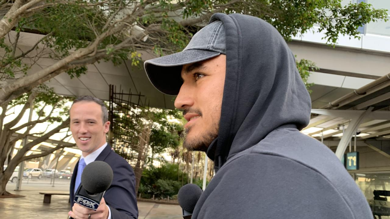 NRL star Valentine Holmes arrives in Sydney following his stint in the USA trying his luck to get a start in the NFL. Picture: Fatima Kdouh