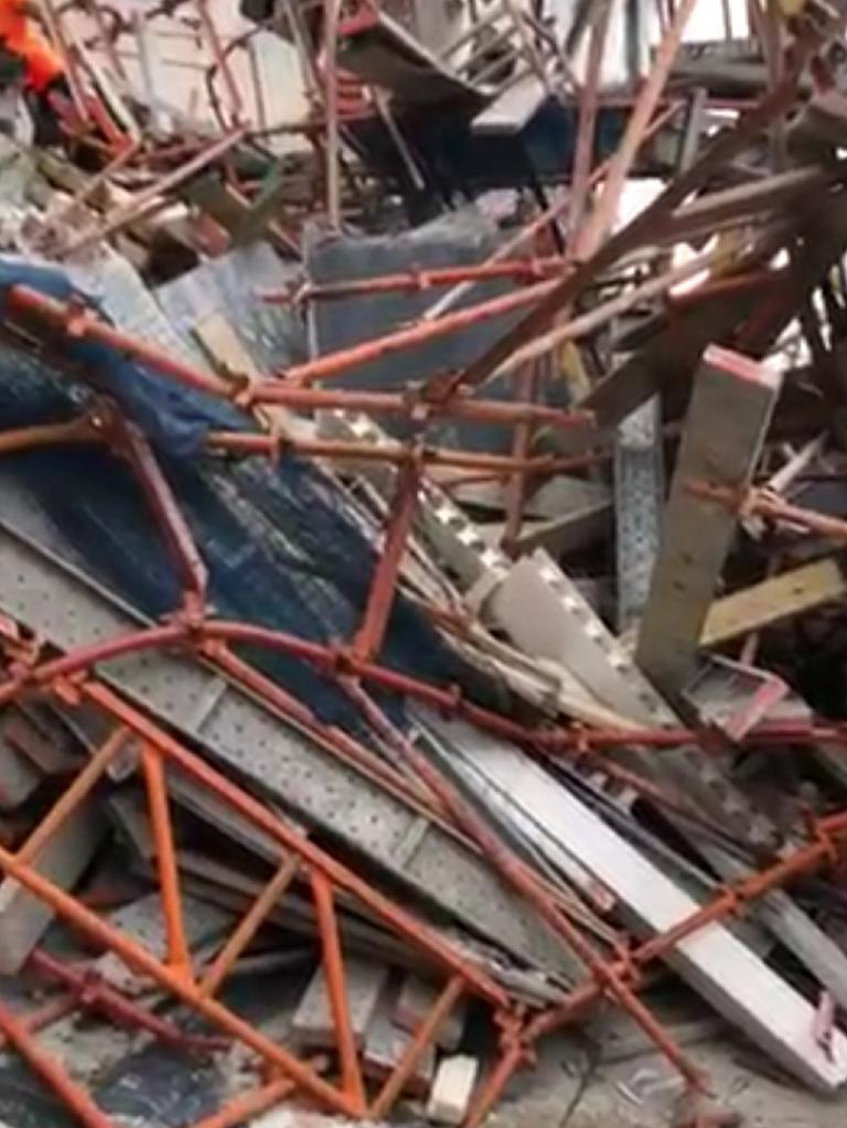 The scene of the collapse at Macquarie Park. Picture: 10 News First