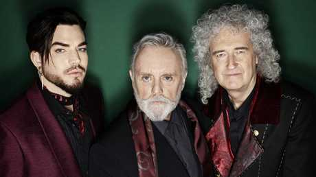 Adam Lambert with Roger Taylor and Brian May. Picture: Supplied