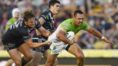 Jordan Rapana on the charge for the Raiders. Picture: Getty Images