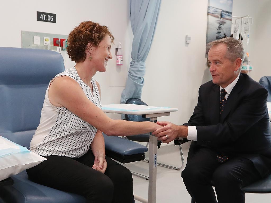 Cancer patient Sarah McGoram meeting Opposition Leader Bill Shorten. Picture: Kym Smith