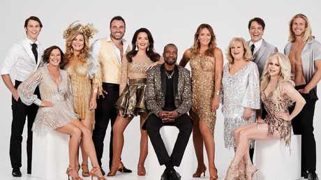 The cast of Dancing With The Stars 2019 with Rees at far left.