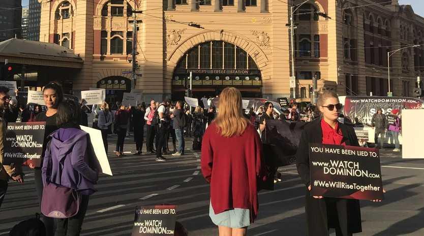 Vegans blocked traffic at Flinders Street Station this morning.