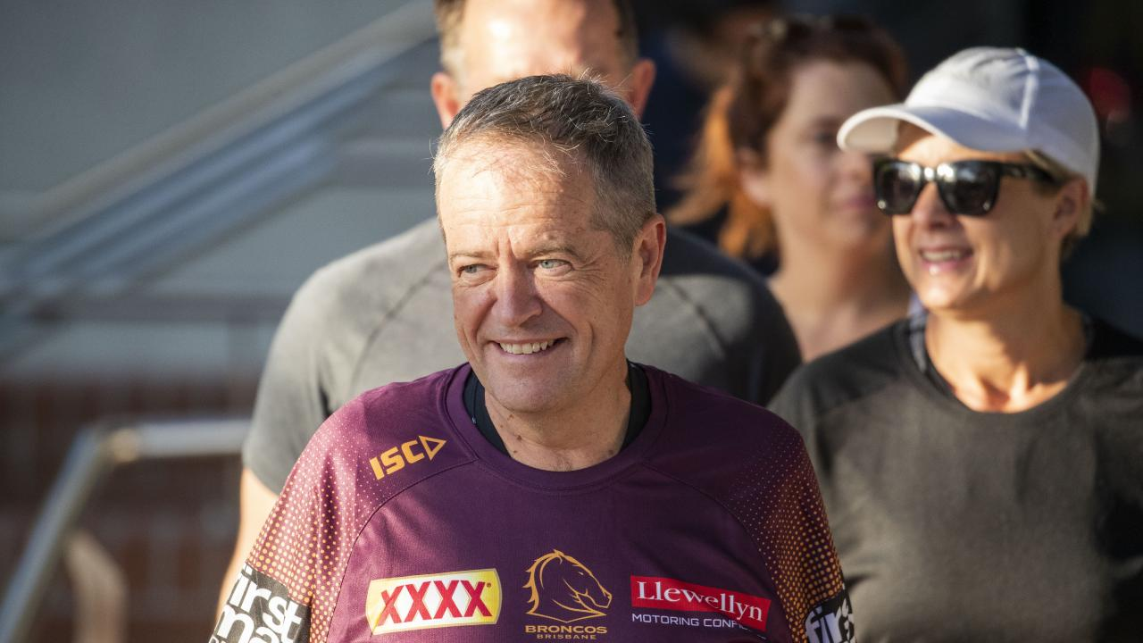 Opposition Leader Bill Shorten is seen before a morning run with Broncos players and Labor candidates, in Brisbane today. Picture: AAP Image/Glenn Hunt