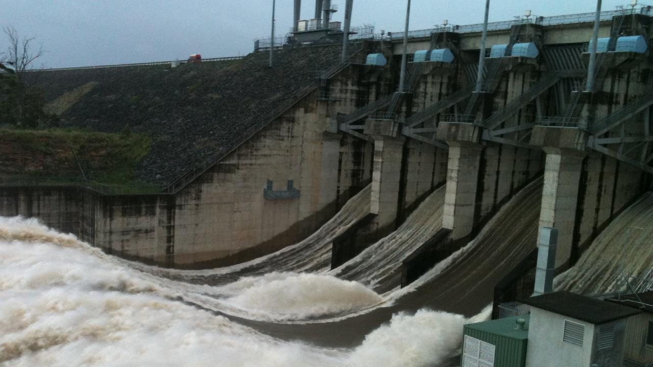 Water pours from the Wivenhoe dam in January 2011. Picture: David Goodwin