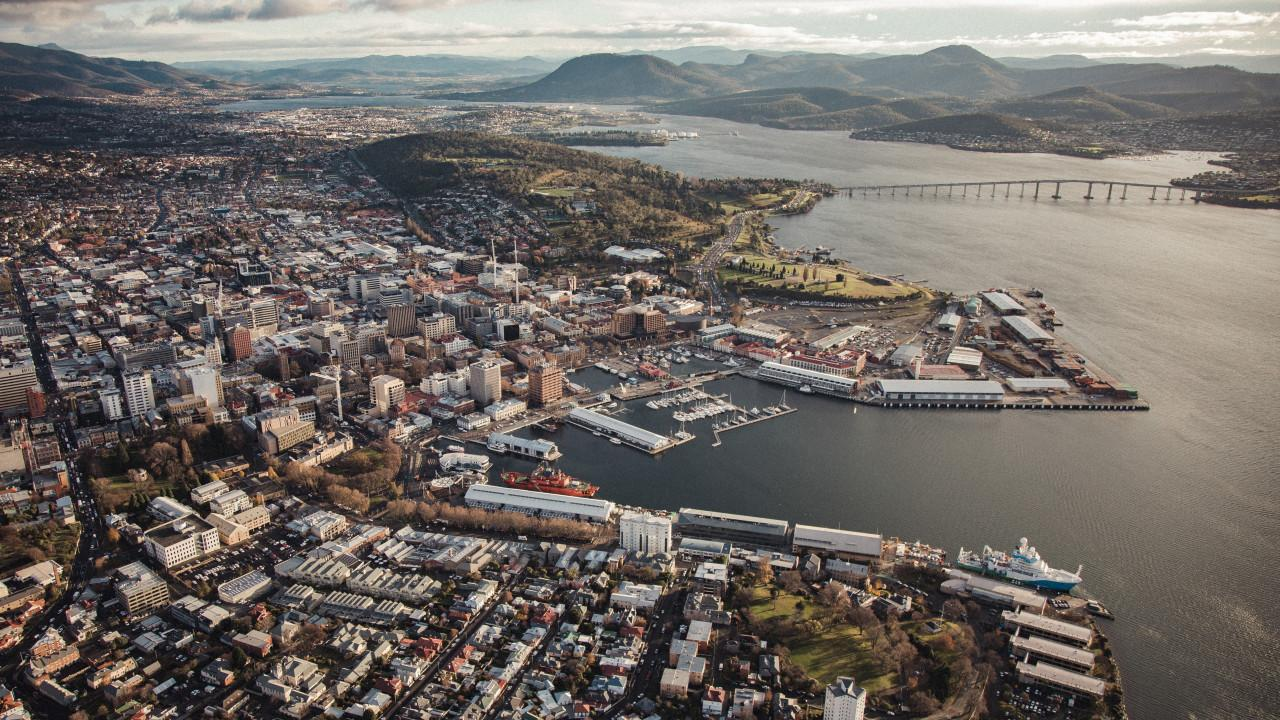 Aerial view of Hobart. Picture: Jarrad Seng