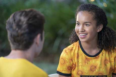 Trae Robin and Sofia Wylie in a scene from the movie Back of the Net.