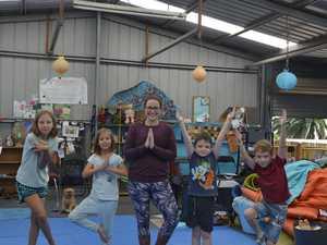 Children enjoy a International Kids' Yoga Day