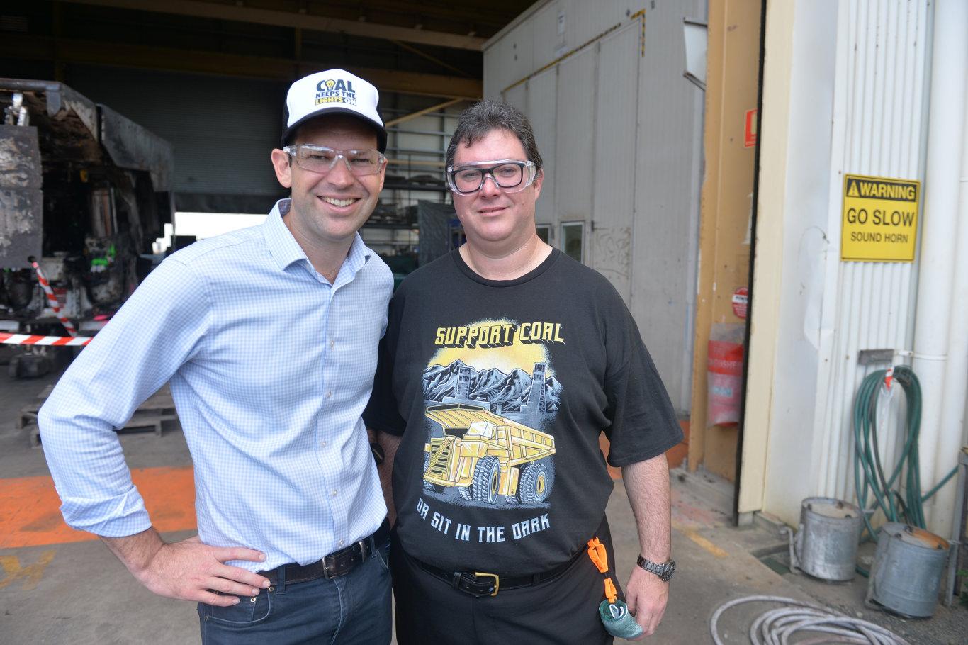 SPEAKING OUT: Minister for Resources Matt Canavan with Dawson MP George Christensen.