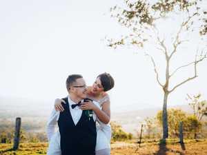 Couple enjoy casual wedding with a stylish Kombi