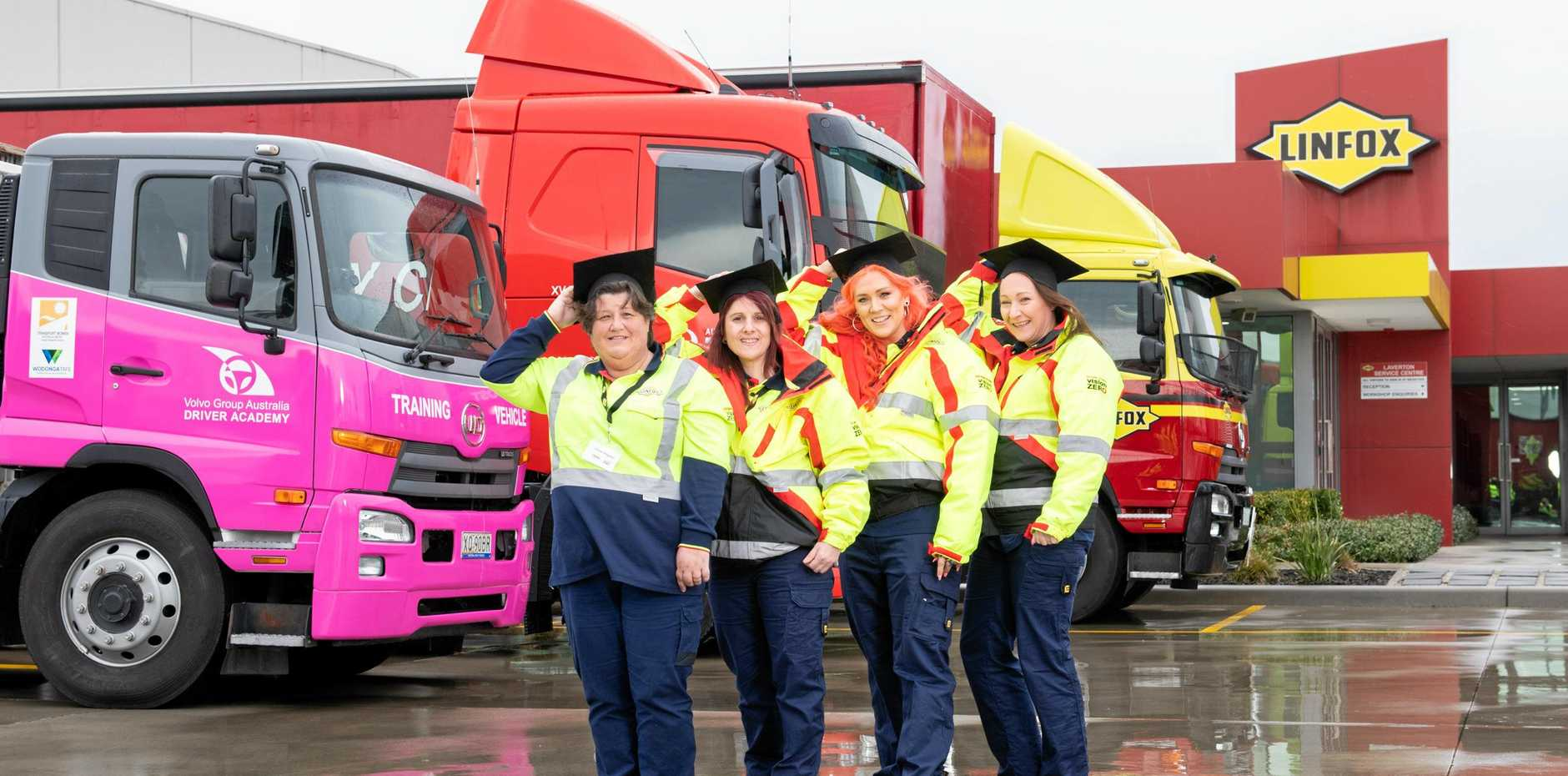 RECRUITS: Graduates from the first intake of the Women Driving Transport Careers course.