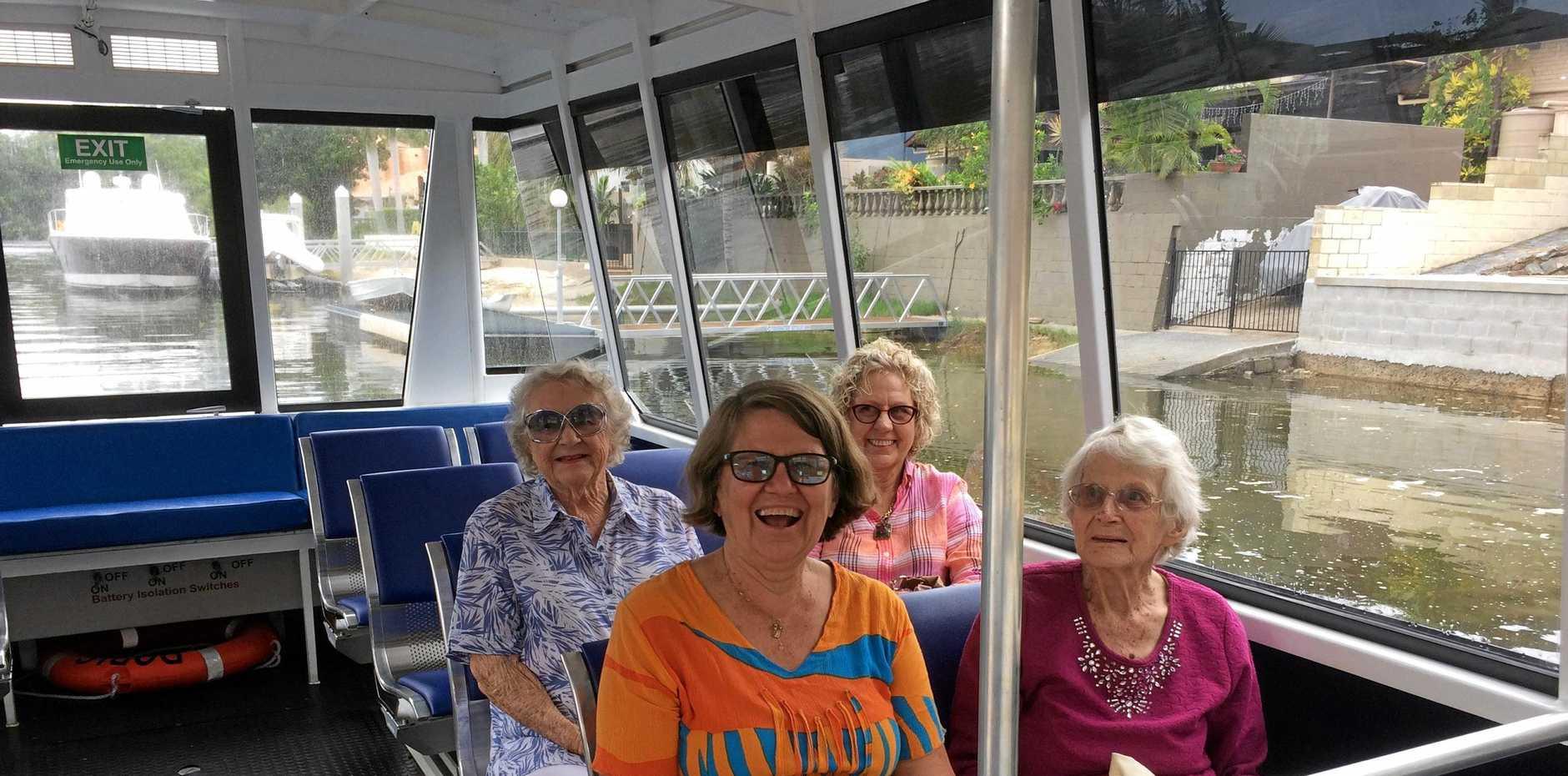 ALL ABOARD: Coral Niethe, mum Mary Mogenson, Doris Bergin and Joan Clarke enjoy seeing a new side of the Gold Coast aboard Doris.