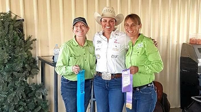 ACTIVE RIDERS: Donna McLoughlin, judge Magen Warlick and Bronwyn Lynch.