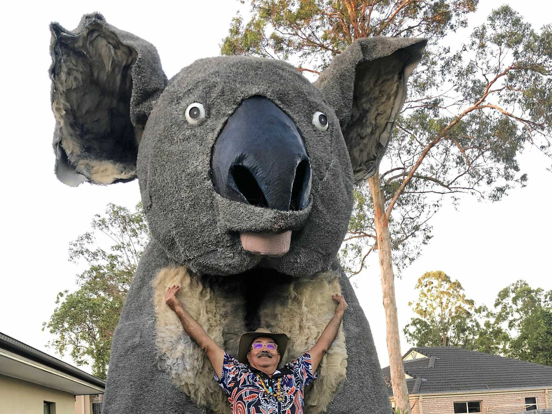 Townsville Cultural Festival's giant koala is heading to Maroochydore as it journeys from Brisbane along the Bruce Highway to its new home.