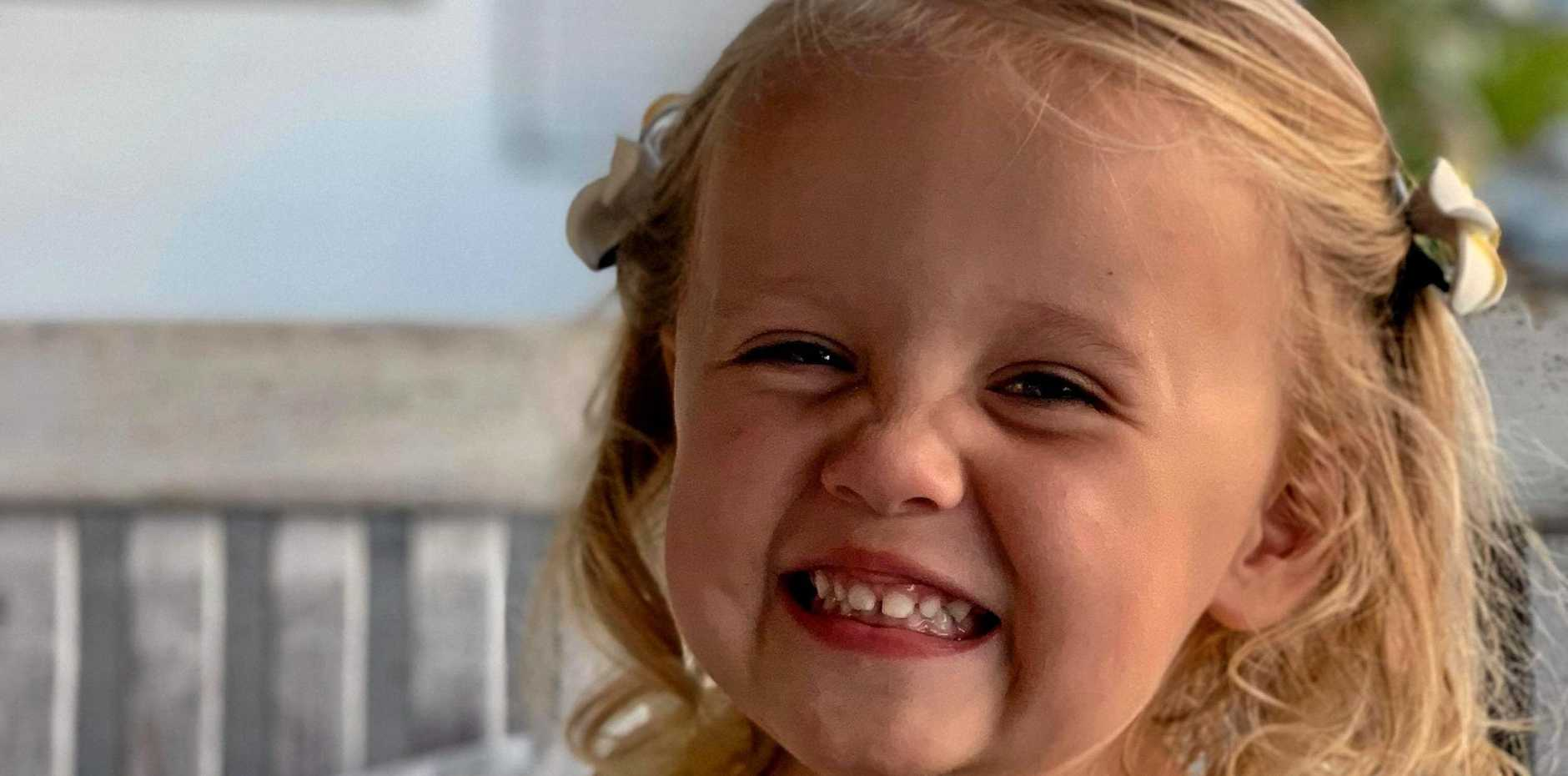 SPEEDY RECOVERY: Lara Whitaker, 2, is in a critical condition after a freak race accident.