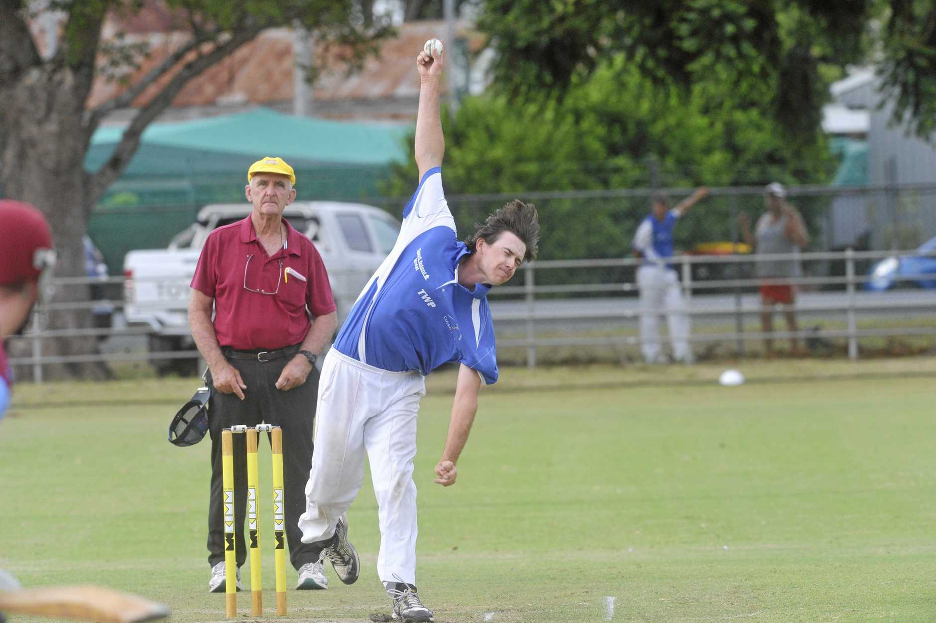 Tyson Blackadder gets his arm high in the delivery during the Cleavers Mechanical Night Cricket clash between Brothers and Tucabia Copmanhurst at McKittrick Park.