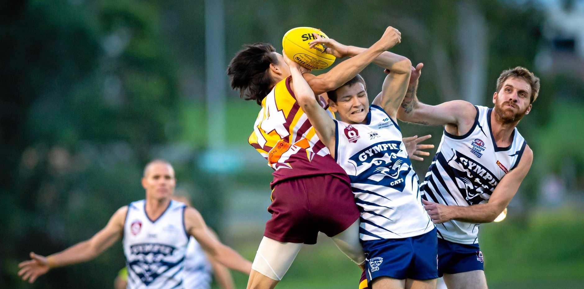 LEADING THE PACK: Kade Kent played an important role in the Gympie Cats' win over the Moreton Bay Lions on Saturday (pictured playing against Maryborough).