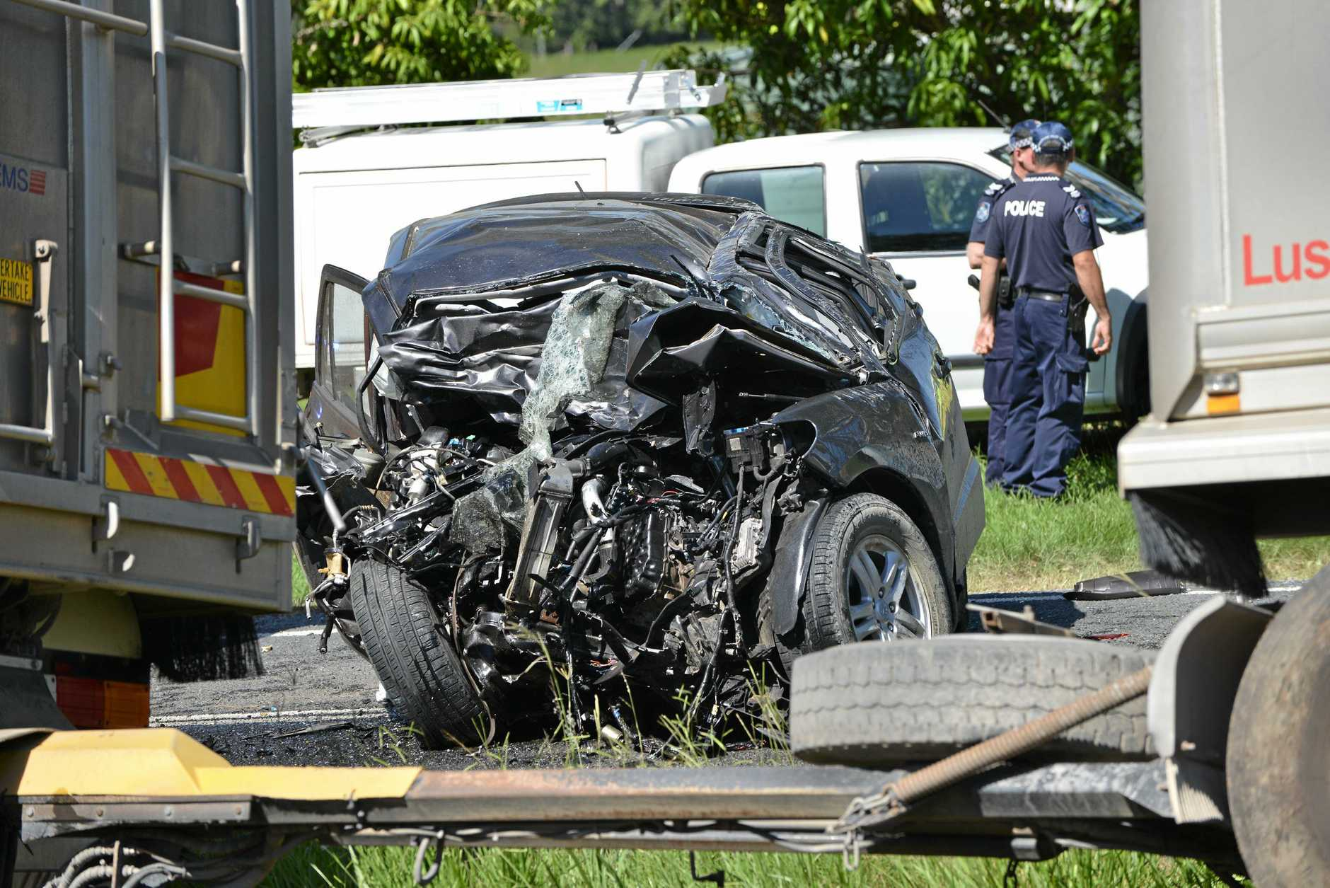 Fatality involving a car and truck. The crash occur on the Mary Valley Road south of Mary Valley Link Road, Gympie.Photo Patrick Woods / Gympie Times