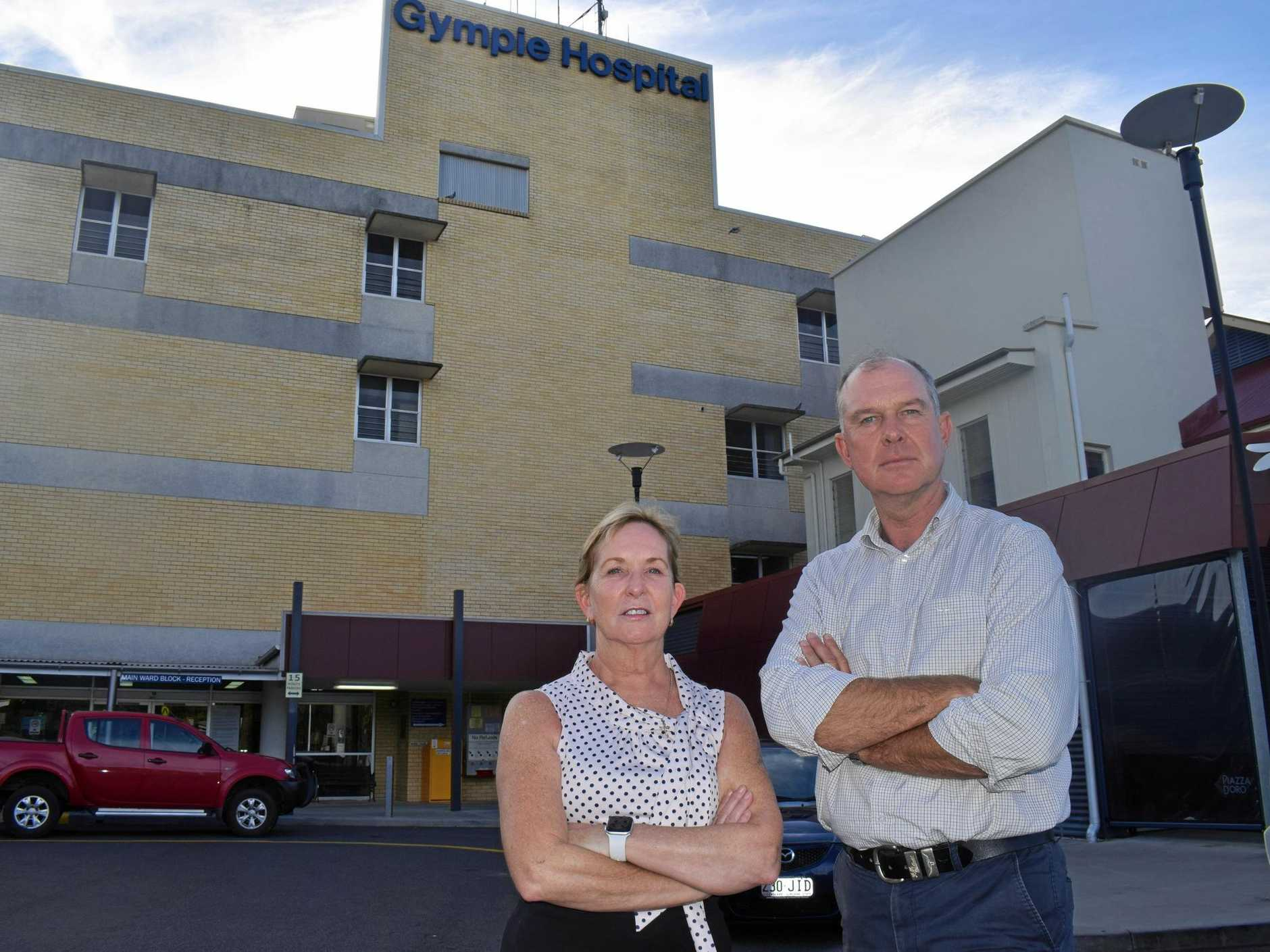 NOT GOOD ENOUGH: Queensland Shadow Health Minister Ros Bates and Gympie MP tony Perrett at a