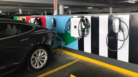 Electric car charging bays at one of Mirvac's shopping centres. Picture: Mirvac