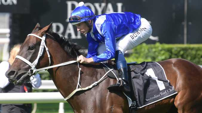Jockey Hugh Bowman and Winx will jump from barrier nine for the Queen Elizabeth Stakes. Picture: AAP Image/Simon Bullard