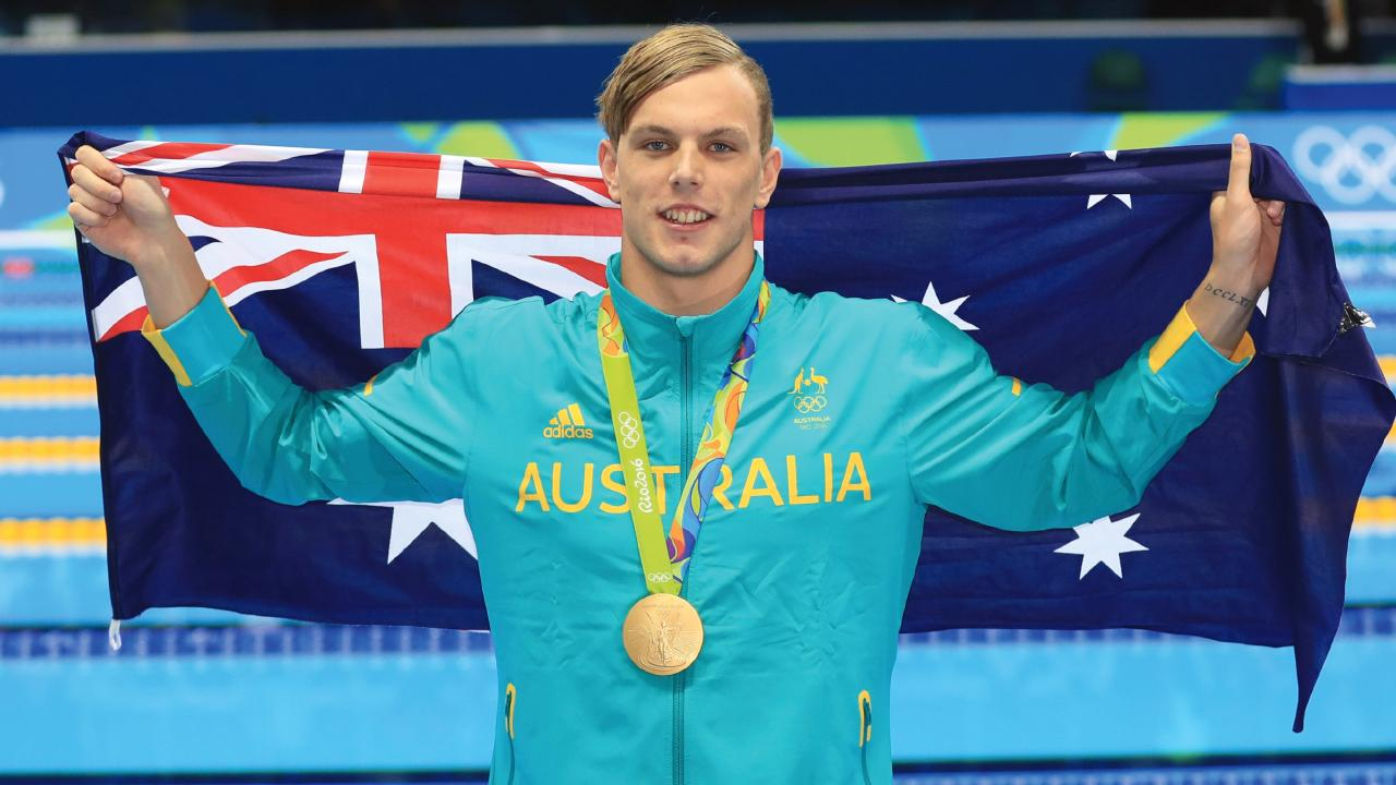Kyle Chalmers after winning gold in the 100m freestyle at the 2016 Rio Olympics. Picture: Alex Coppel.