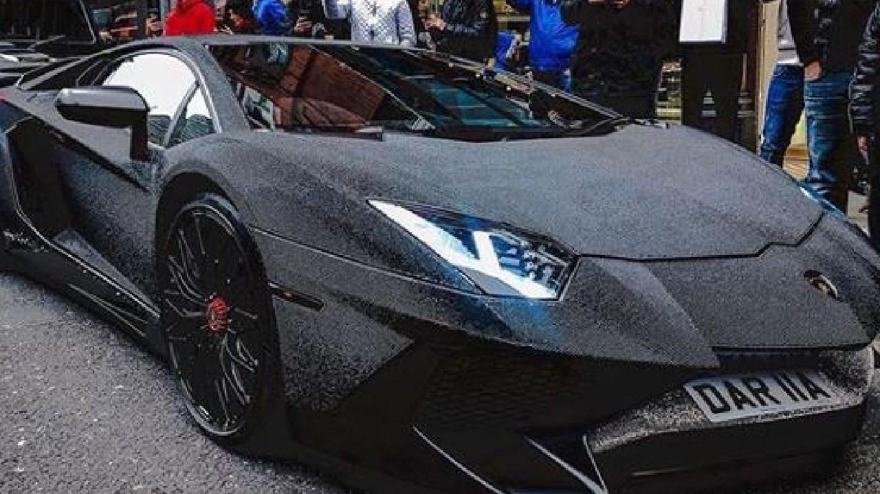 Daria Radionova's crystal encrusted Lamborghini Aventador. Pic: Instagram dradionova.