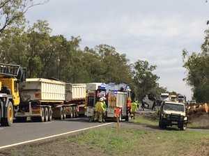 Scene of a truck rollover, Carnarvon Highway