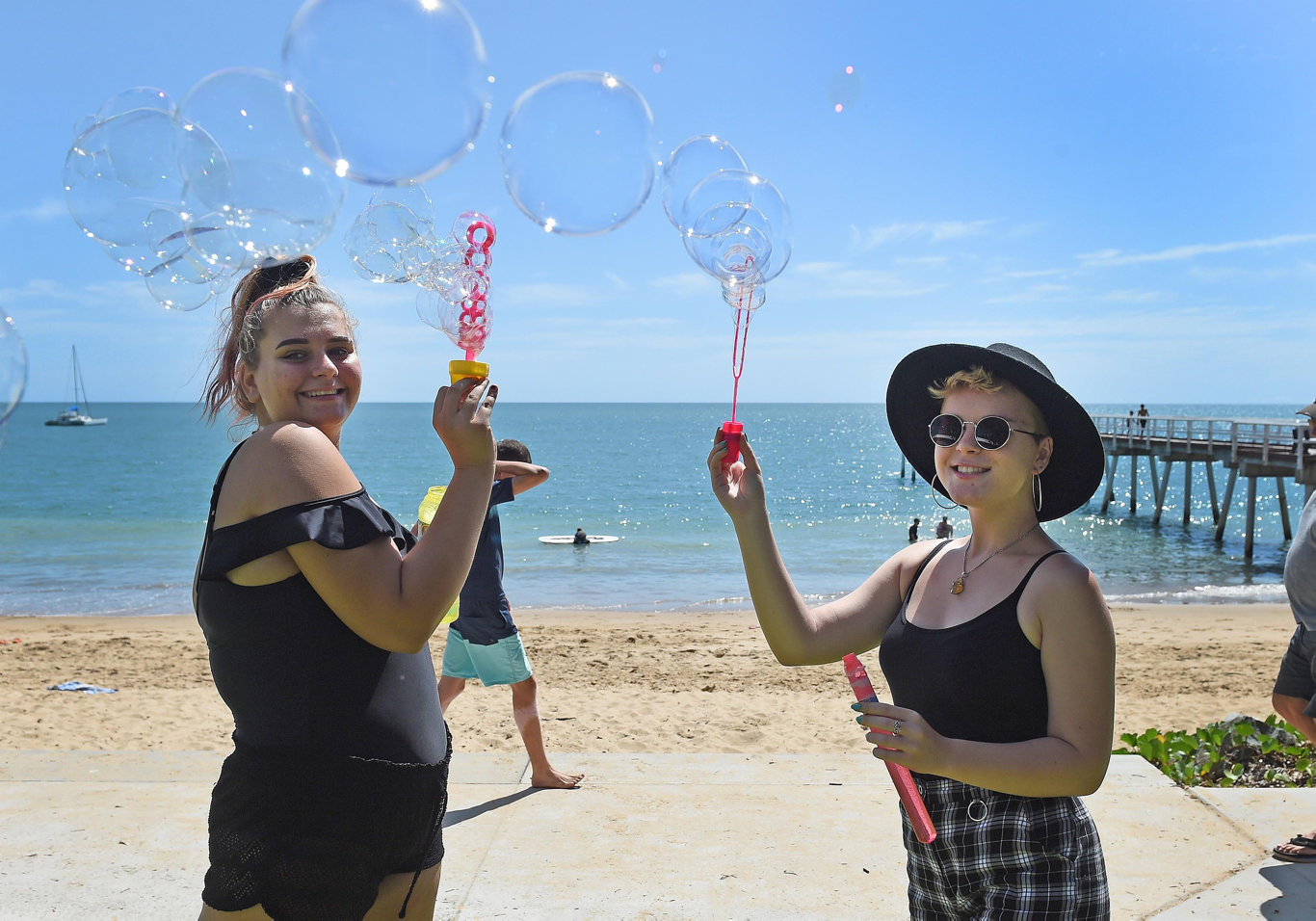 Youth week Red Cross beach day - 16yo Hayley Howard and 17yo Portia Robertson.