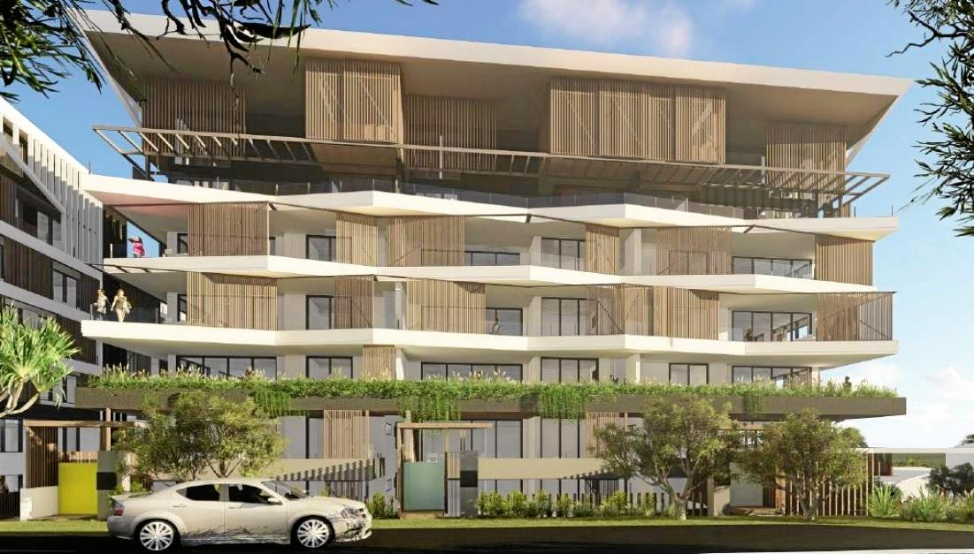 Artist impressions looking at the multi-dwelling apartment block from Pacific Boulevard.