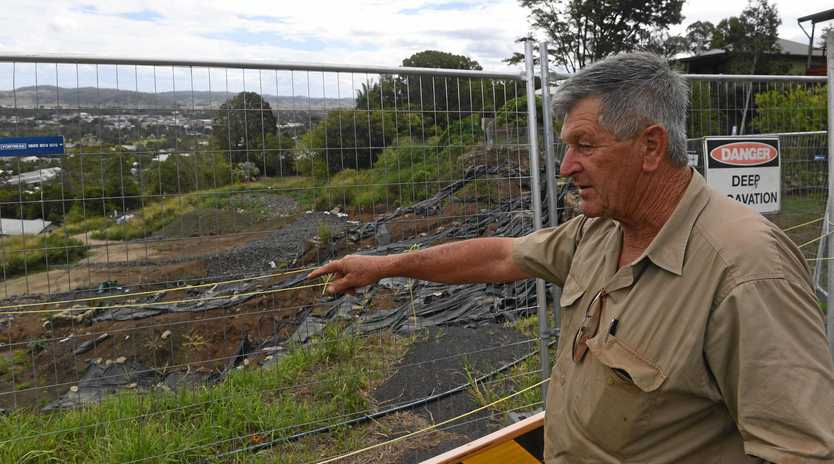 Ken Allport at the excavation of the landslip and reformation of the embankment along Beardow Street where historic industrial waste including coke and slag like materials, as well as bonded asbestos, was encountered.