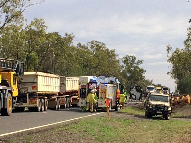 MOLASSES SPILLAGE: A truck has rolled over 10km north of Roma.