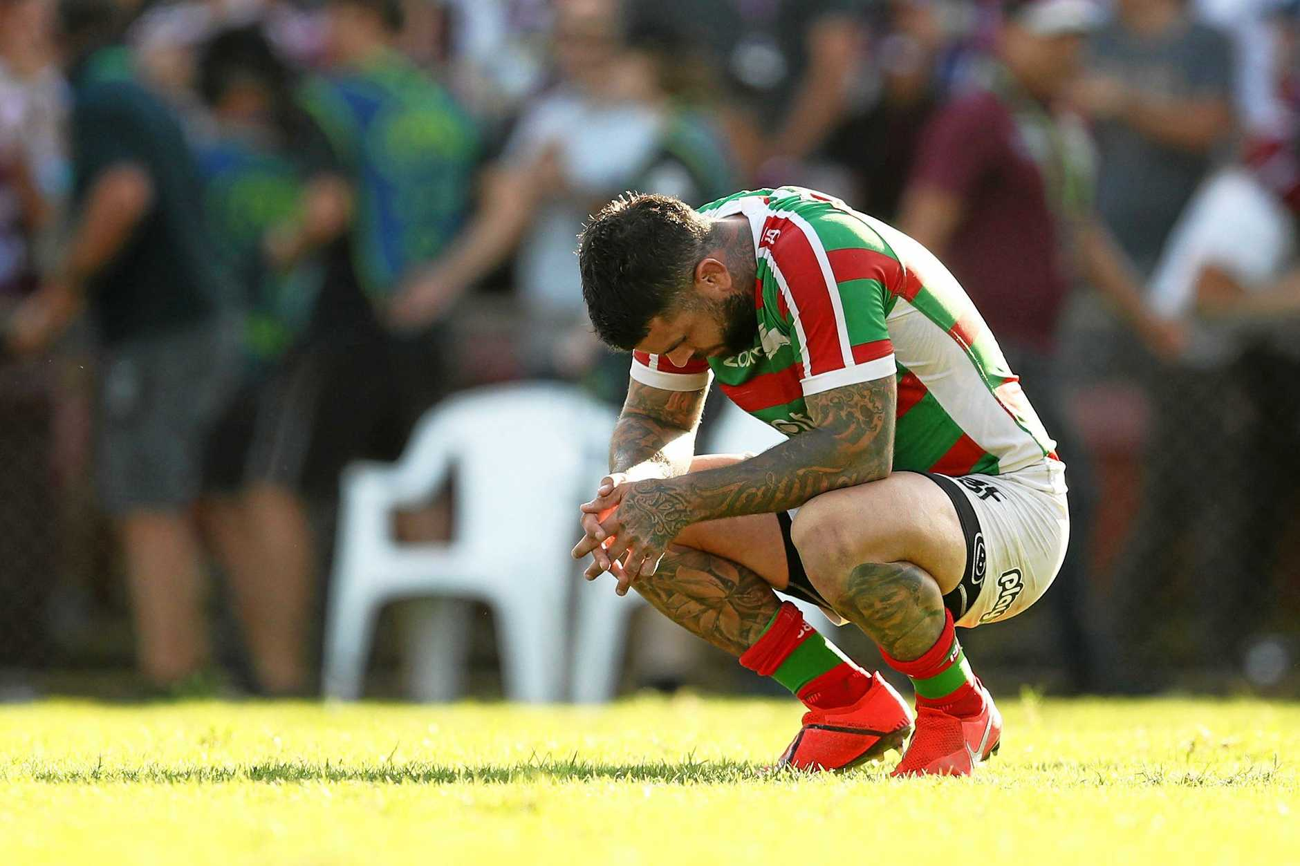Adam Reynolds of the Rabbitohs reacts during the Round 4 NRL match between the Manly Sea Eagles and South Sydney Rabbitohs at Lottoland in Sydney, Saturday, April 6, 2019. (AAP Image/Brendon Thorne) NO ARCHIVING, EDITORIAL USE ONLY
