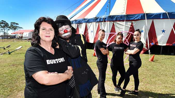 NO LAUGHING MATTER: Burtons Circus manager Cheryl Lennon with performers Archie the Clown, Lara, Marcela and Kate outside the big top at Fraser Park in Pialba. The circus has considered cancelling future appearances in Hervey Bay due to being relocated from Seafront Oval.
