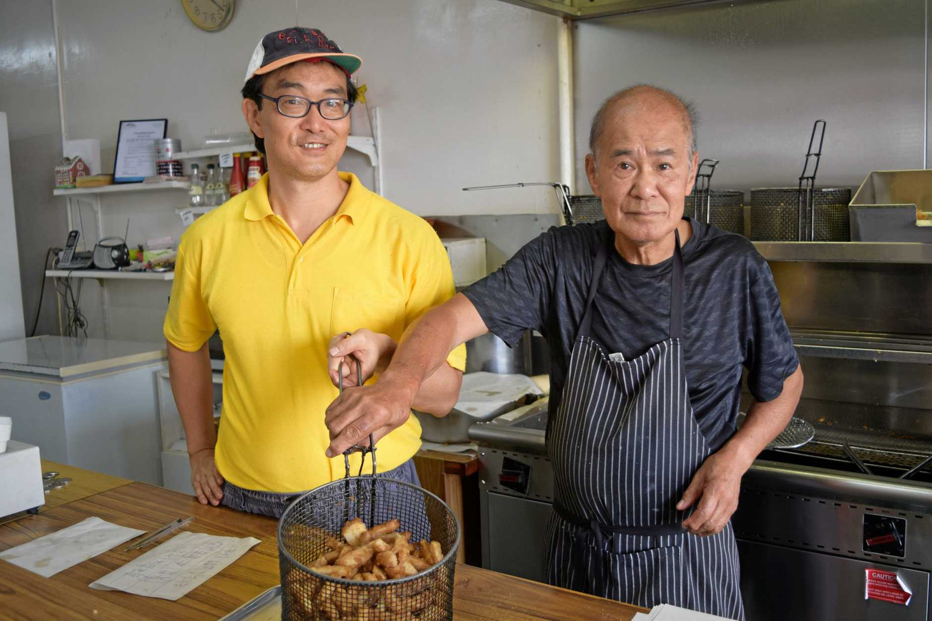 Andrew Wong with father Kent Wong of Busy Bee Fish Bar on Targo St.