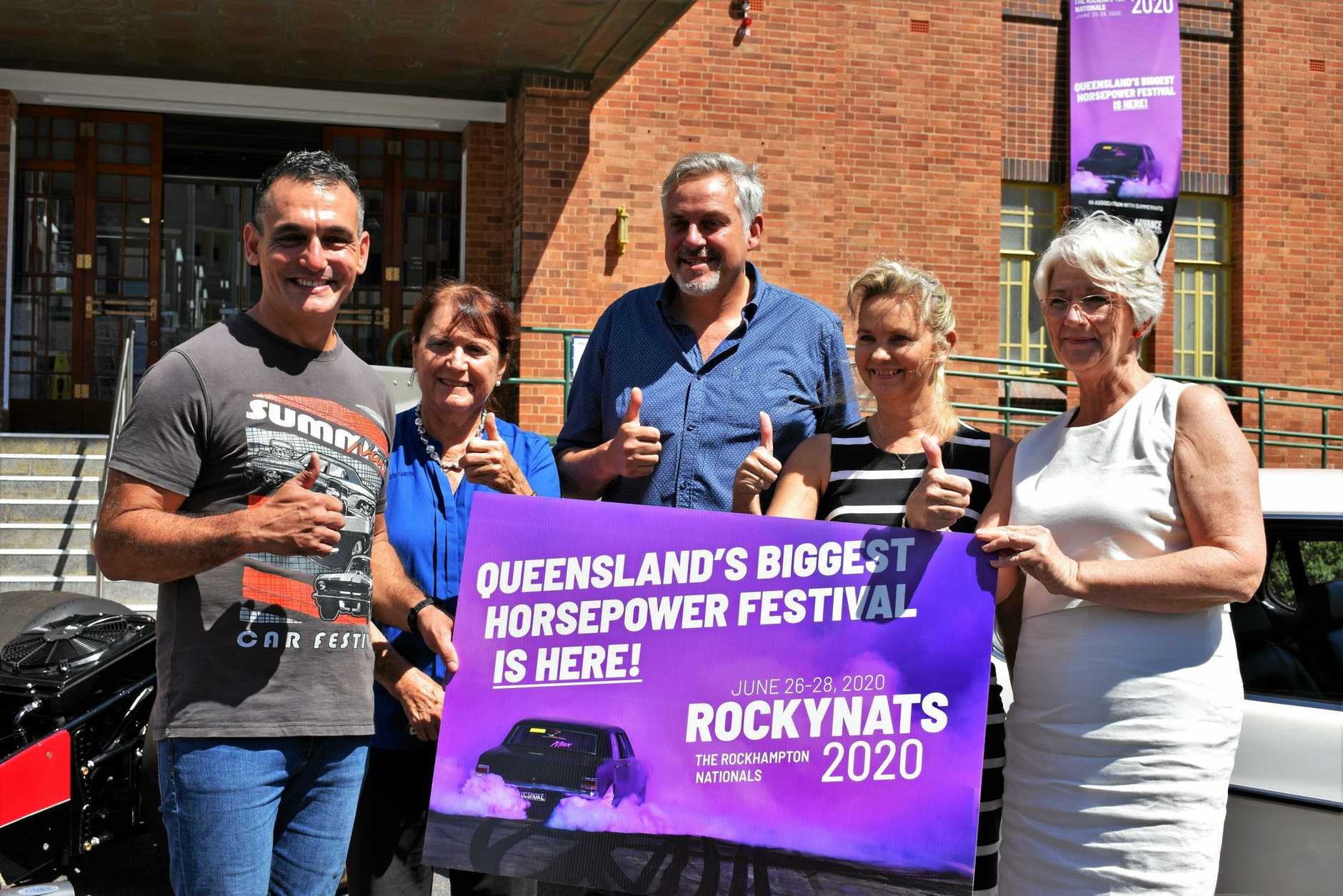 Andy Lopez, Cr Ellen Smith, Summernats CEO Noel Landry, Cr Cherie Rutherford and Mayor Margaret Strelow announcing the 2020 ROCKYNATS festival.