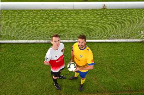 Captains Joe Hirst and Shane Dix are looking forward to their soccer clash in memory of Lachlan Wells.