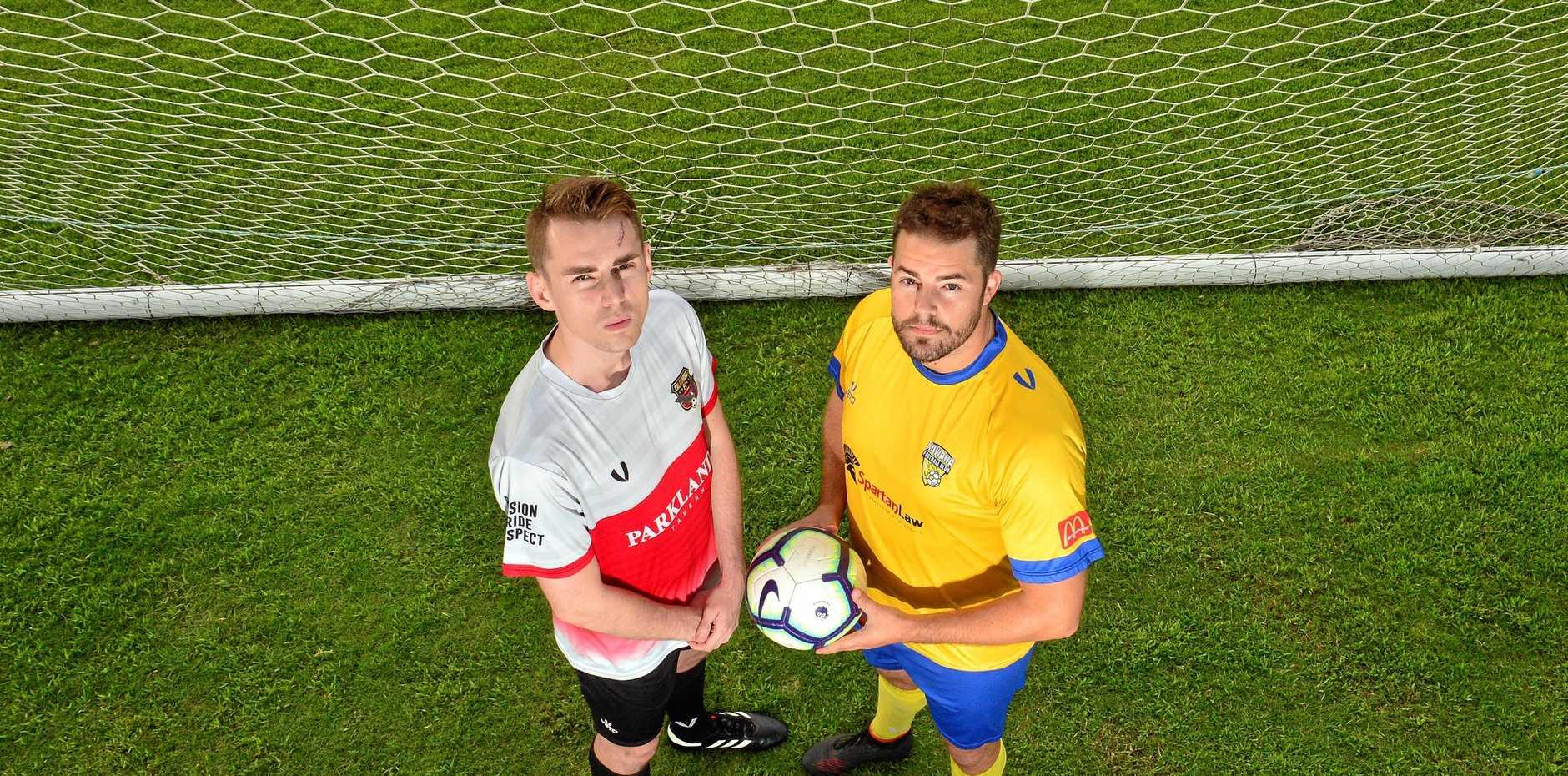Caloundra captains Joe Hirst and Kawana captain Shane Dix prepare for the Lachlan Wells Charity Shield.