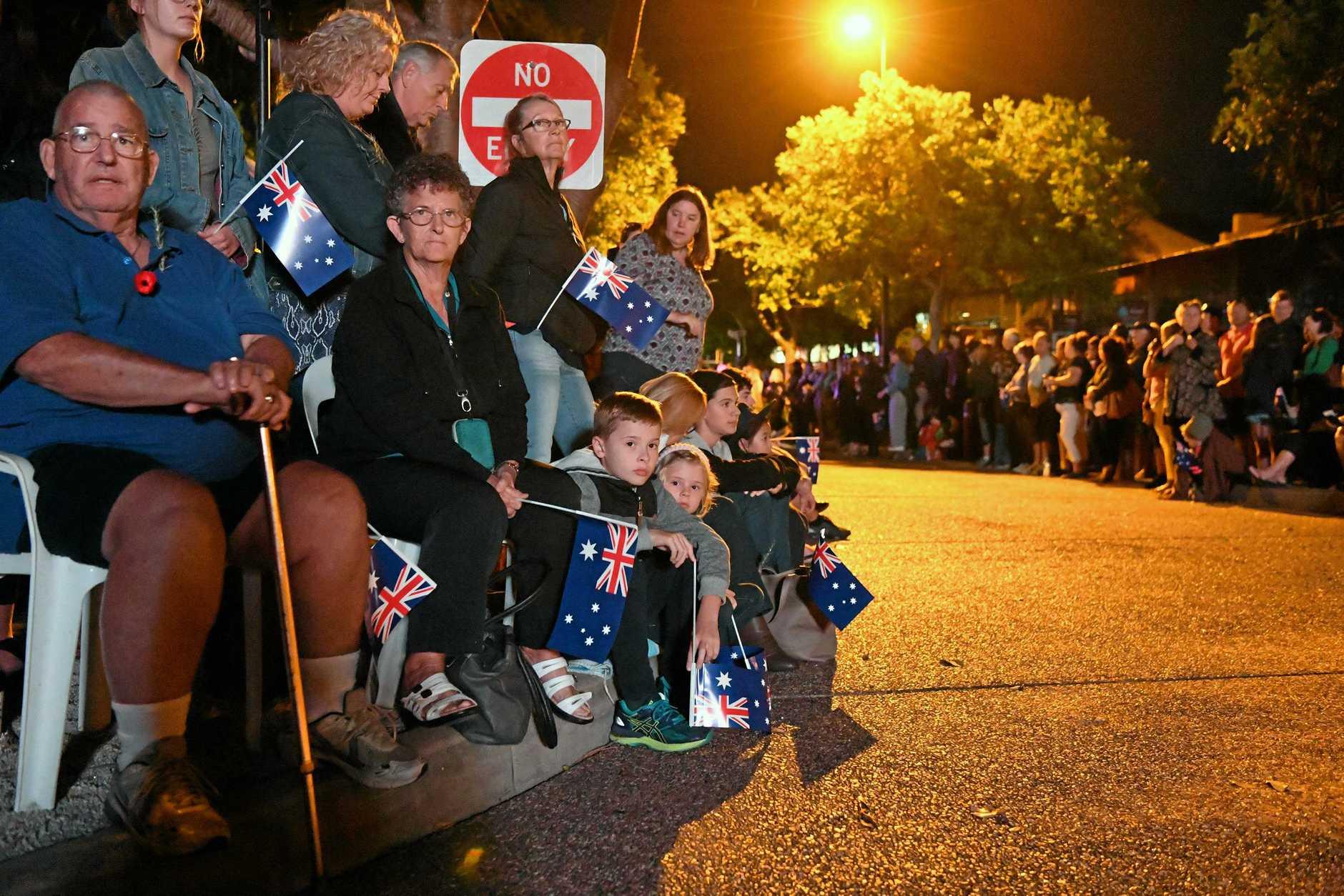 ANZAC DAY: Bargara Dawn Service. Jm Bates, Nancy Halbesma, Cooper Croft and Georgia Croft .