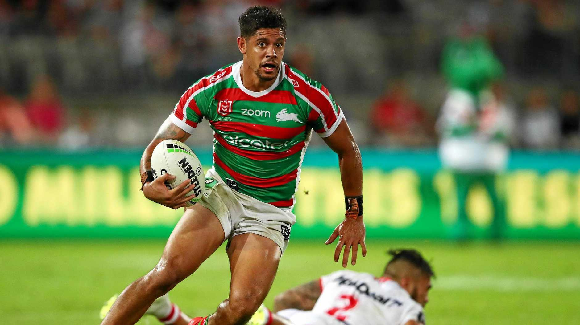 BOUNCING BACK: Dane Gagai of the Rabbitohs makes a break during the round two NRL match between the St George Illawarra Dragons and the South Sydney Rabbitohs  on March 21 in Sydney.  .