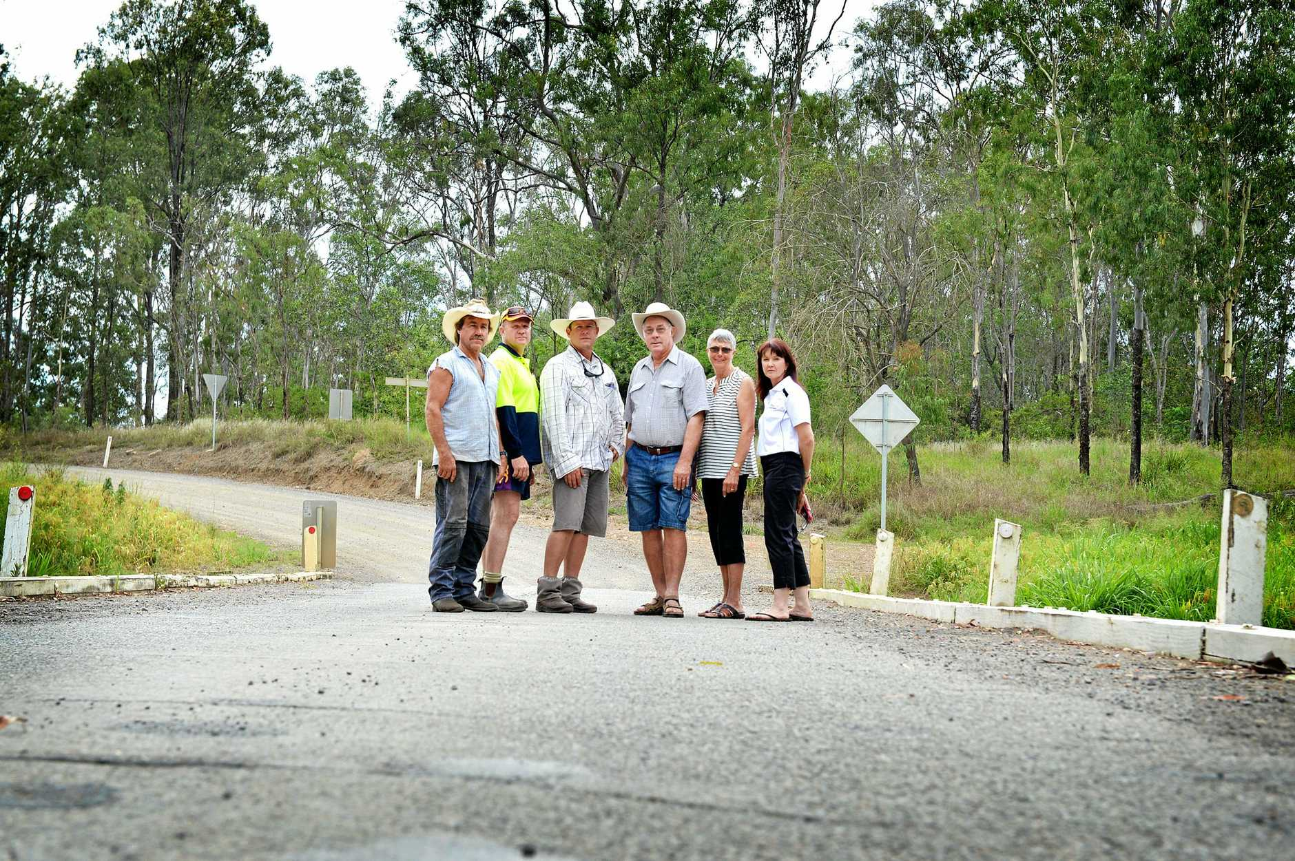 Phil Stanford, Steve Turner, Sean Barrett, Nevile and Joy Turner, Sharon Turner have been calling for upgrades to the Running Creek Bridge for years.