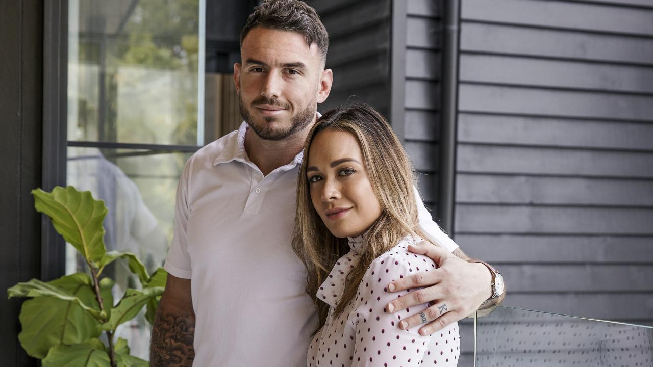 Broncos captain Darius Boyd at home with his wife Kayla. Picture: Mark Cranitch.