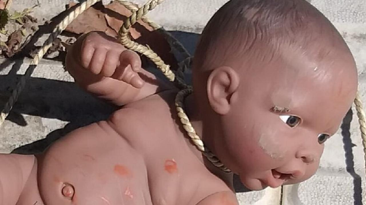 A doll with a noose around its neck was found outside the Aboriginal Advancement Centre in Thornbury, Victoria. Source: Shannon Hood.