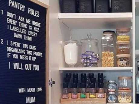 Some people were outraged over the words 'I will cut you' written in the rules for the organised pantry.