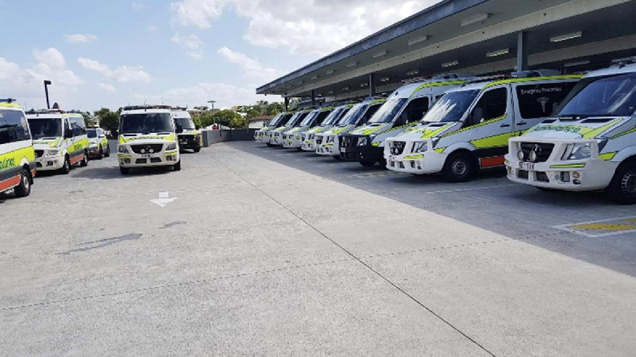 Ambulance ramping at QEII Jubilee Hospital where staff raised concerns about rapid offloads with Health Minister Steven Miles as far back as May 2018.