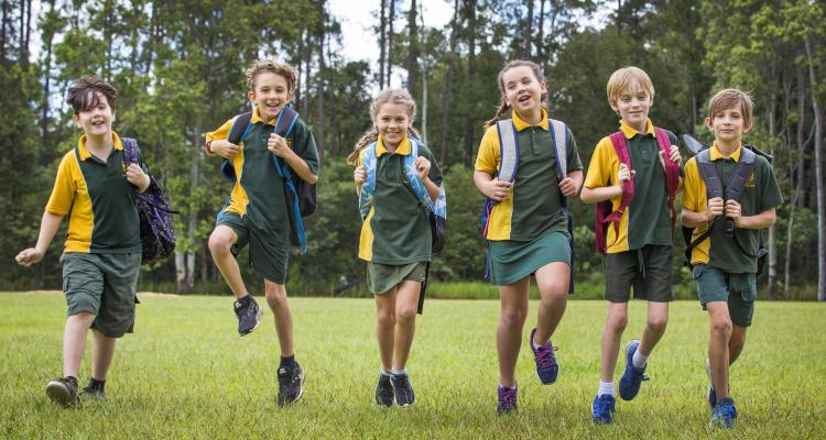 Year 4 Students Nick Slattery, Jack Murray, Lexi Basten-Byrne, Ruby Ballinger, Chace Phillips, and Isaac Russell from Yandina State School which is one of Australia's top improving schools in NAPLAN Reading results. Picture: Lachie Millard
