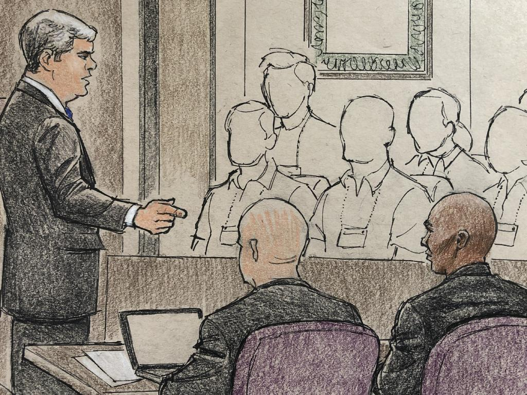 "Courtroom sketches from the Noor/ Damond trial, where prosecutor Patrick Lofton opened the state case by arguing that ""you should be able to ask the police for help and feel safe"".  Sketch: Cedric Hohnstadt"