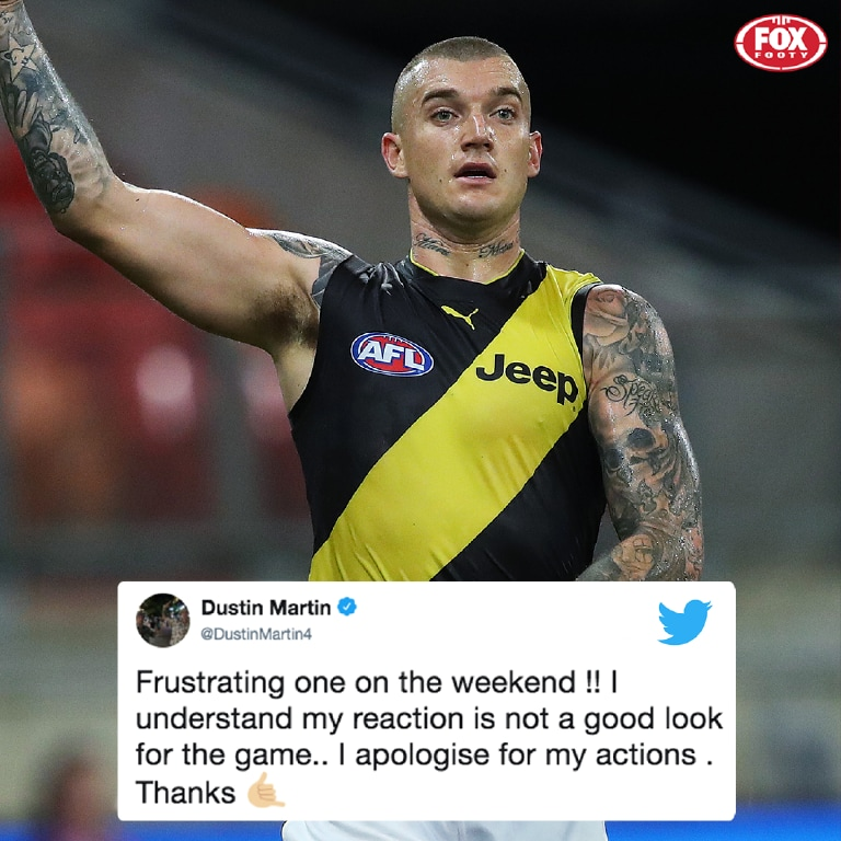 Dustin Martin has apologised on Twitter.