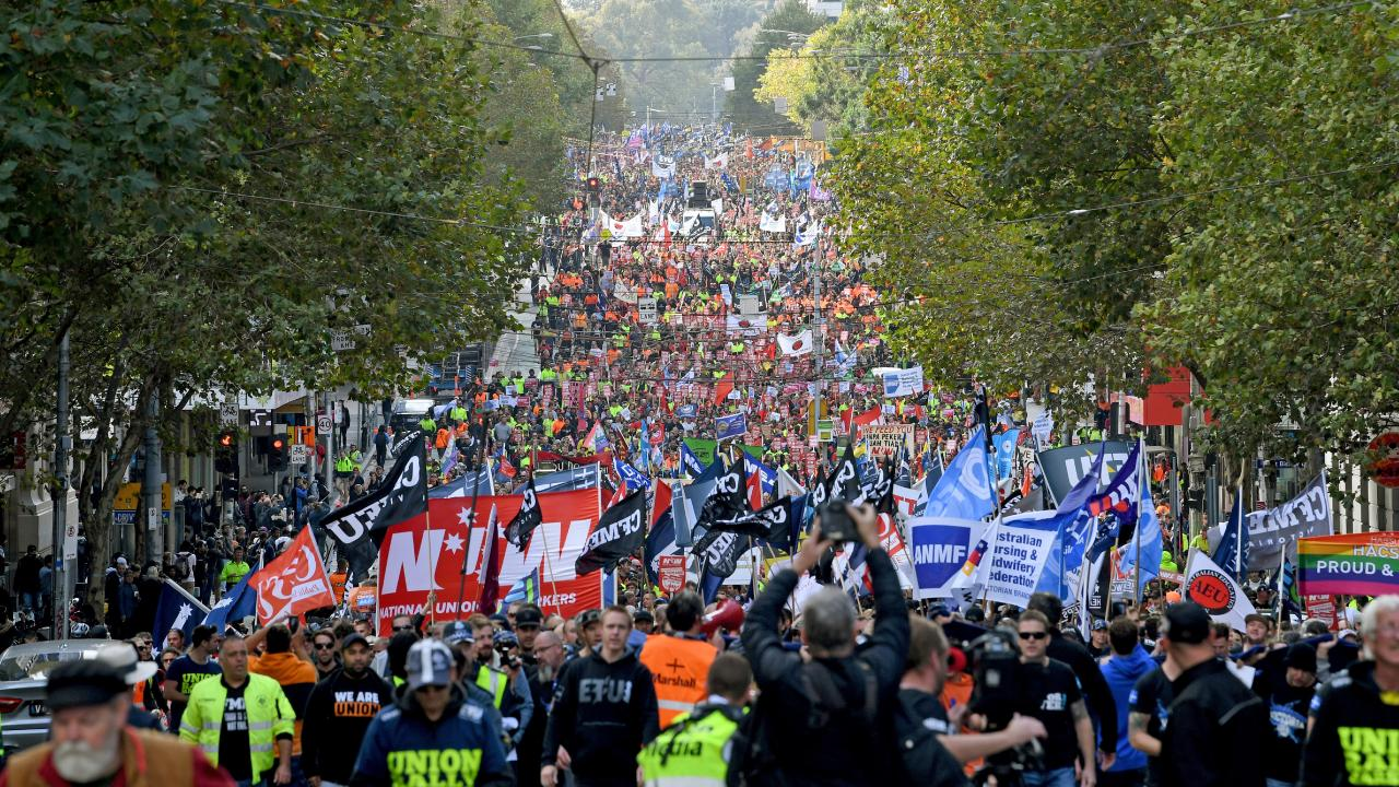 Union workers protested in Melbourne in May last year. Picture: Joe Castro/AAP
